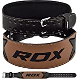 "RDX Weight Lifting Belt Cow Hide Leather Double Prong 4"" Back Support Crossfit Training Gym Fitness Workout Exercise Bodybuilding"