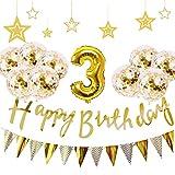 3歳 誕生日 飾り付け 21点 セット - Gehome ゴールド バースデー バルーン 飾り 男の子と女の子用(1歳〜9歳)