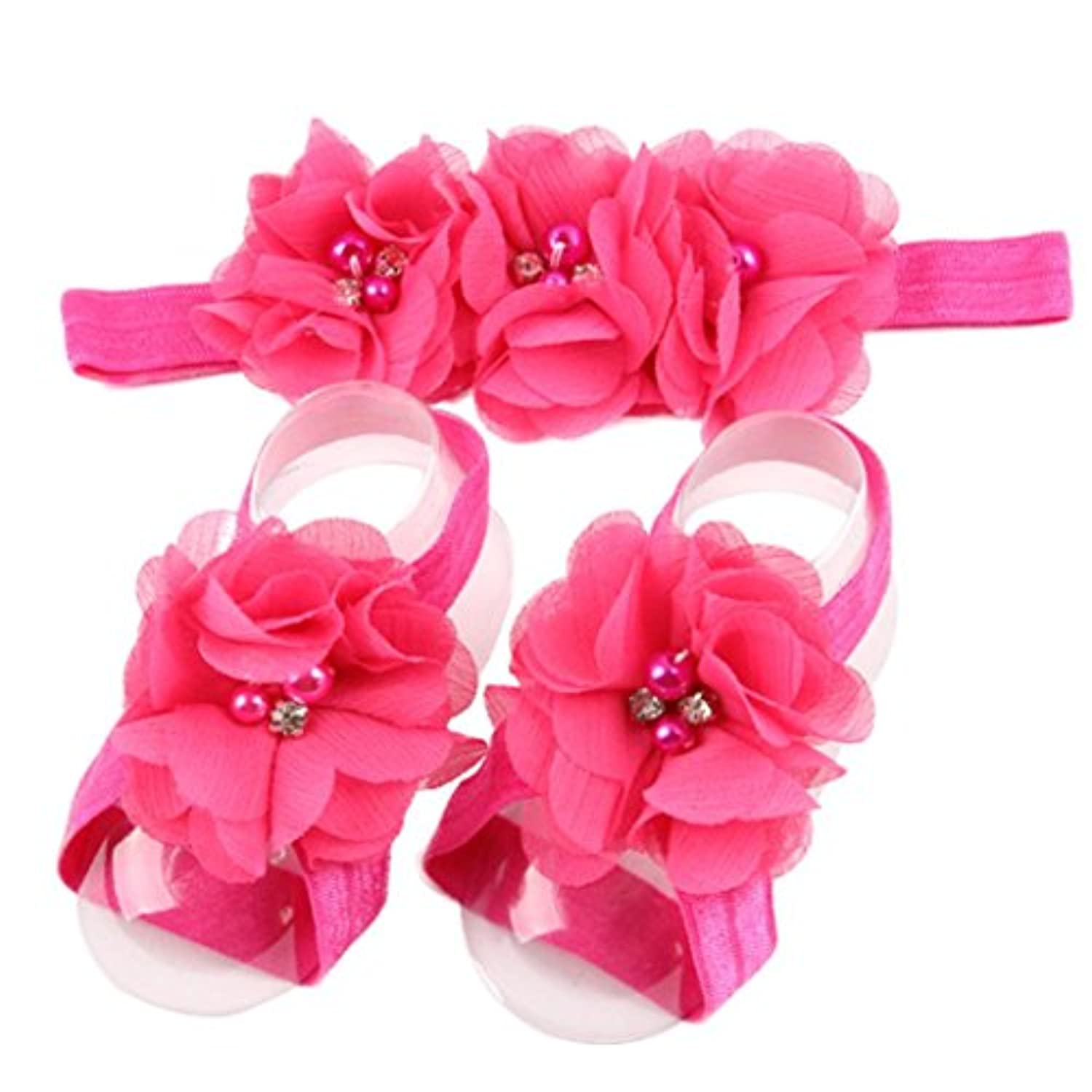 (Hot Pink) - Sunfei3 Pieces A Set Cute Baby Girls Toddler Flower Hairband Headband Flower Barefoot Sandal / Shoes Set Children Accessories (Hot Pink)
