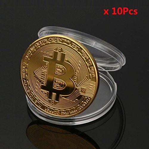 ビットコイン Bitcoin Collectible ギフト バーチャル レプリカ 仮想 通貨 コイン グッズ アートコレク メッキ ライトコイン 記念硬貨 コレクション 十枚入り (ゴールド)