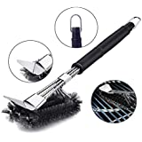 Misha BBQ Grill Brush - Stainless Steel Cleaning Brush 3 in 1 Brush, with Long, Ergonomic Handle, Best 360 ° Cleaning Tools for Grill and BBQ Charcoal, Gas, Porcelain etc