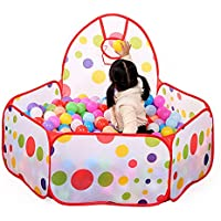 Tuankay 子供用テント 折り畳み式 カラーボールプール バスケットゴール付き 屋内遊具 知育玩具 お誕生日 出産祝い プレゼント 6ヶ月-3歳