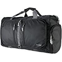 ProCase Foldable Travel Duffel Bag, 35L Waterproof Gym Sports Bag Lightweight Storage Carry Duffle Tote Bag for Luggage Gym Sports - Black