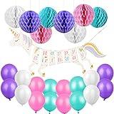 ユニコーン誕生日飾り 女の子 可愛い ベビーシャワー 100日 出産祝い 紫色 ピンク ホワイト グリーン カラフル ハニカムボール 風船 バルーン 29個