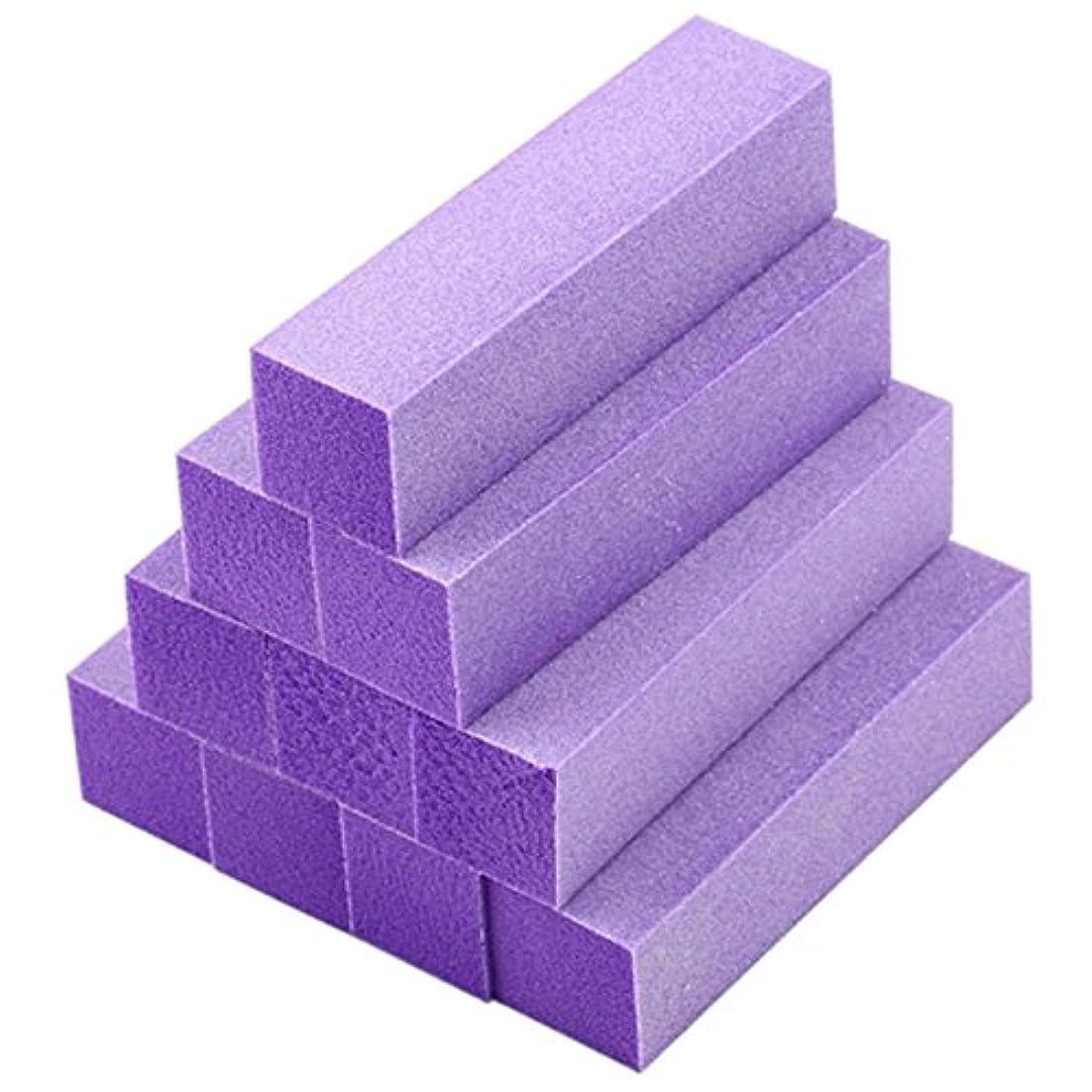 仕えるパイ痛いACAMPTAR 10xバフ研磨 バッファブロックファイル アクリルペディキュアマニキュアネイルアートチップ (色:紫)