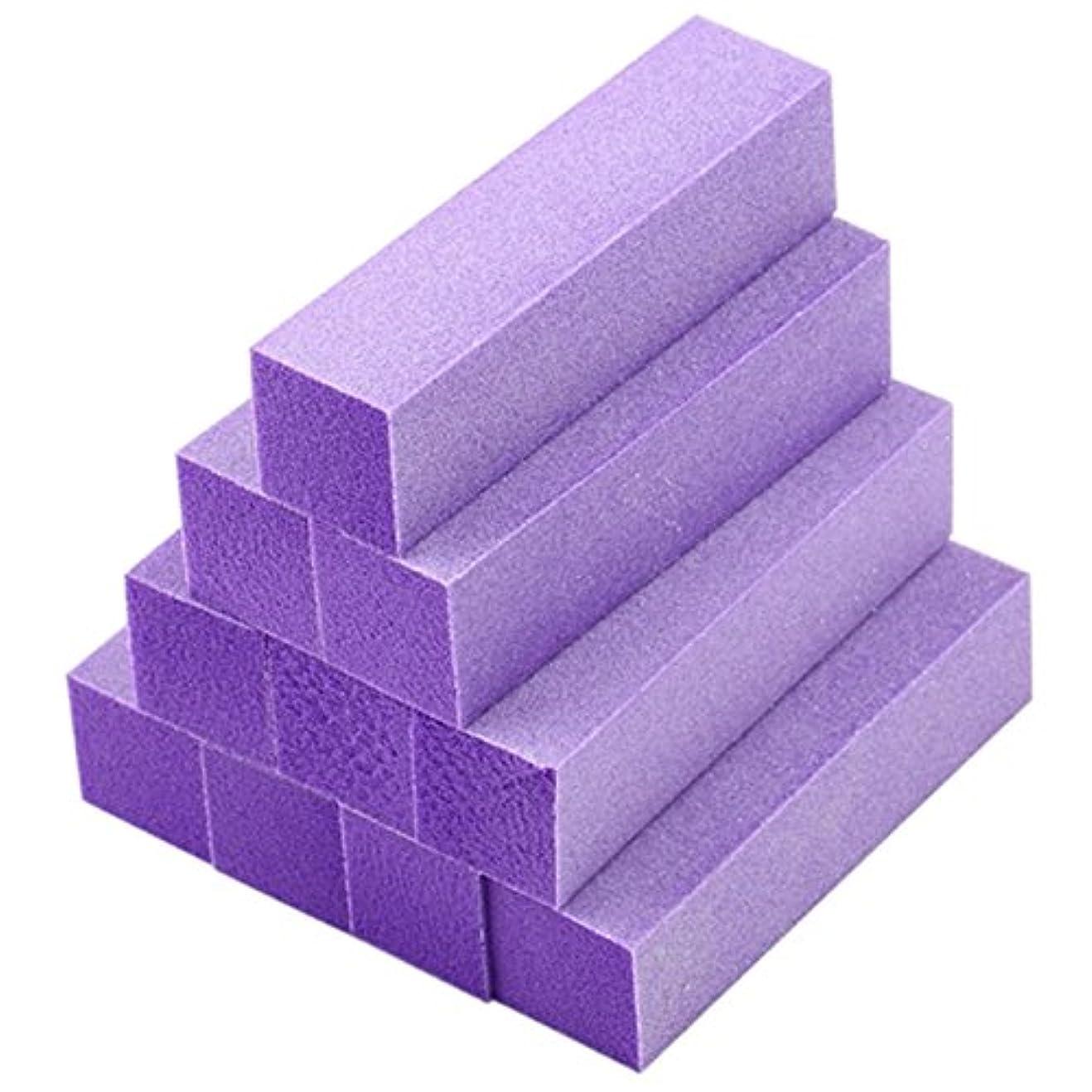 天国抜粋職人ACAMPTAR 10xバフ研磨 バッファブロックファイル アクリルペディキュアマニキュアネイルアートチップ (色:紫)