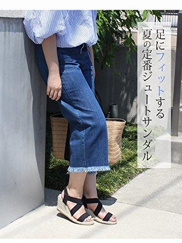 [アミアミ] AmiAmi ゴム ストラップ ジュート ウエッジ サンダル (ゴールド, L)