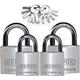 SEPOX Aluminum Alloy Padlock Keyed Alike 2 Pack 30mm & 2 Pack 40mm with 5mm Diameter Hardened Shackle