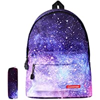 Galaxy School Backpack SKL Unisex School Bag Canvas Rucksack Laptop Book Bag Satchel Hiking Bag for Boys Girls