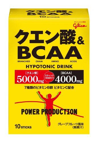 グリコパワープロダクションクエン酸酸&BCAA ハイポトニック粉末ドリンク グレープフルーツ風味 1袋 (12.4g) 10袋 -