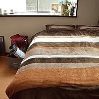 毛布 ブランケット LAND ランド 約245×195cm キングサイズ ブラウン なめらかフランネルとあったか裏ボア2枚合わせ 寝具 防寒対策 アーバンストライプがおしゃれ シンプル ボーダー