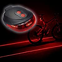Eplze 自転車の後部ランプ、警告灯、防水自転車レーザーテールライトを点滅、5LED 7フラッシュモードサイクリング安全ランプ