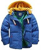 (チーアン)Tiann 子ども ダウンジャケット ダウンコート 中綿コート キッズ 防寒 フード付き アウター 男の子 冬 ボーイズ ブルー