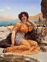 ¥5K-200k 手書き-キャンバスの油絵 - 美術大学の先生直筆 - 5 名画 - With Violets Wreathed Robe of Saffron Hue 女性 John William Godward - 絵画 洋画 手描複製画 -03