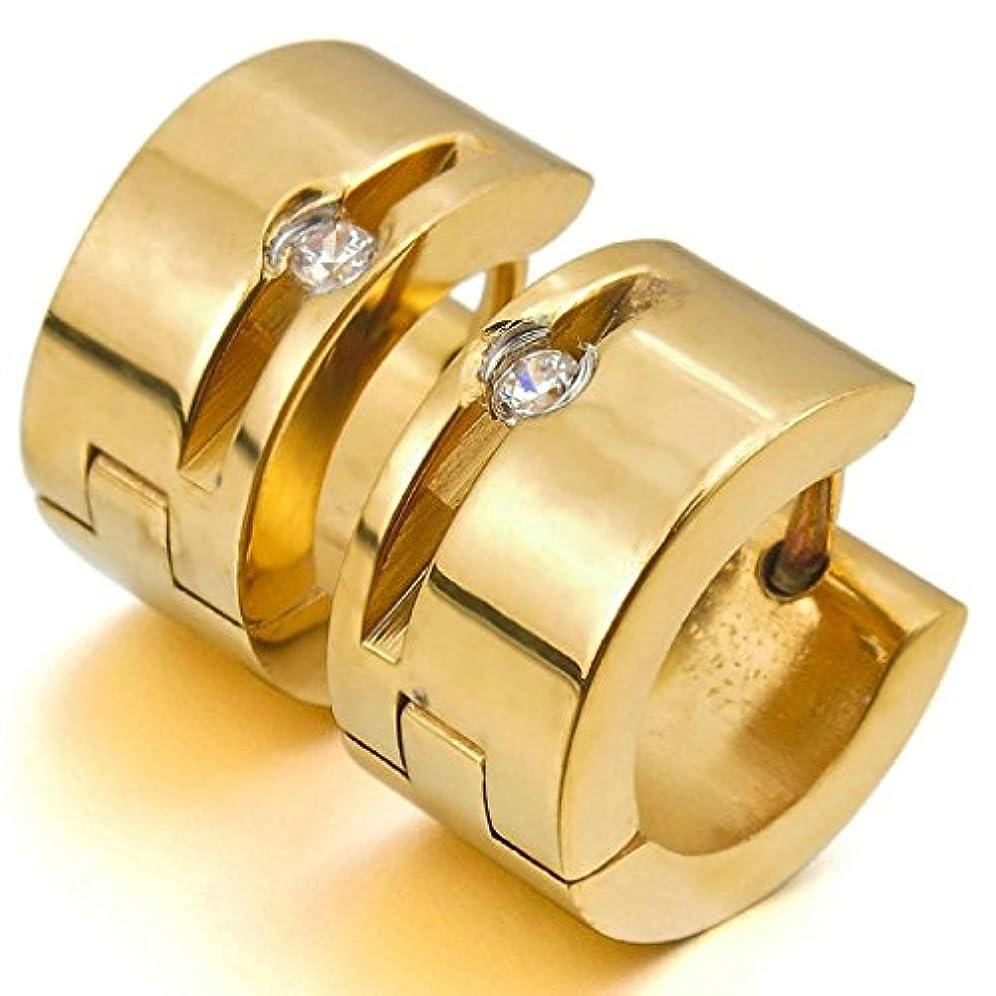 楕円形ラジエーター交渉するAooazジュエリー ステンレスメンズイヤリング ホワイト CZ ゴールド 研磨 スタッド フープ イヤリング 結婚式 好きなメッセージが刻印できる