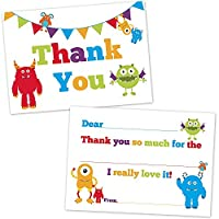 Cute Monster Fill In Thank You Cards for Kids - (20 Count with Envelopes) [並行輸入品]