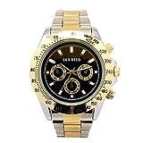 メンズ腕時計ゴールドカラーミディアムケースシルバーブラック