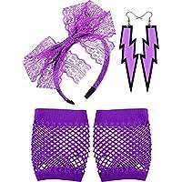 Neon Earrings Lightning Fingerless Fishnet Gloves and 80's Lace Headband Purple