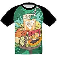 豊かな栄養フルーツジュース かっこいい ベビー フロントプリント半袖 Tシャツ快適 子供 夏 トップ おもしろい 上着