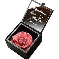 アートテック 名入れ ミラー&ダイヤモンドローズ プリザボックス カラー:キャンディーピンク