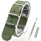 【 気分に合わせて簡単交換 】 ( カーキ 16mm ) NATO タイプ ナイロン ベルト ストラップ 腕時計 2PiS 【 バネ棒外し&バネ棒2本&交換マニュアル付 】