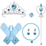 Princess Elsa Dress up, 6 Set Party Accessories Cosplay Accessories for Cosplay Queen Girls Best Birthday Gift, Blue
