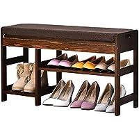 靴ラックシューズラック、廊下、レトロカラーシューズスツールシンプルな家庭用靴シンプルモダンソリッド木製ストレージスツール 84cm 15211