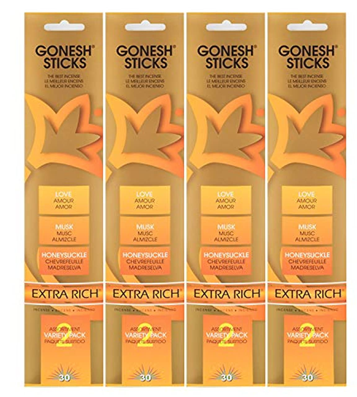 Gonesh Incense Sticks – Extra Rich Variety Pack # 2 (愛、ムスク、スイカズラ) Lot of 4