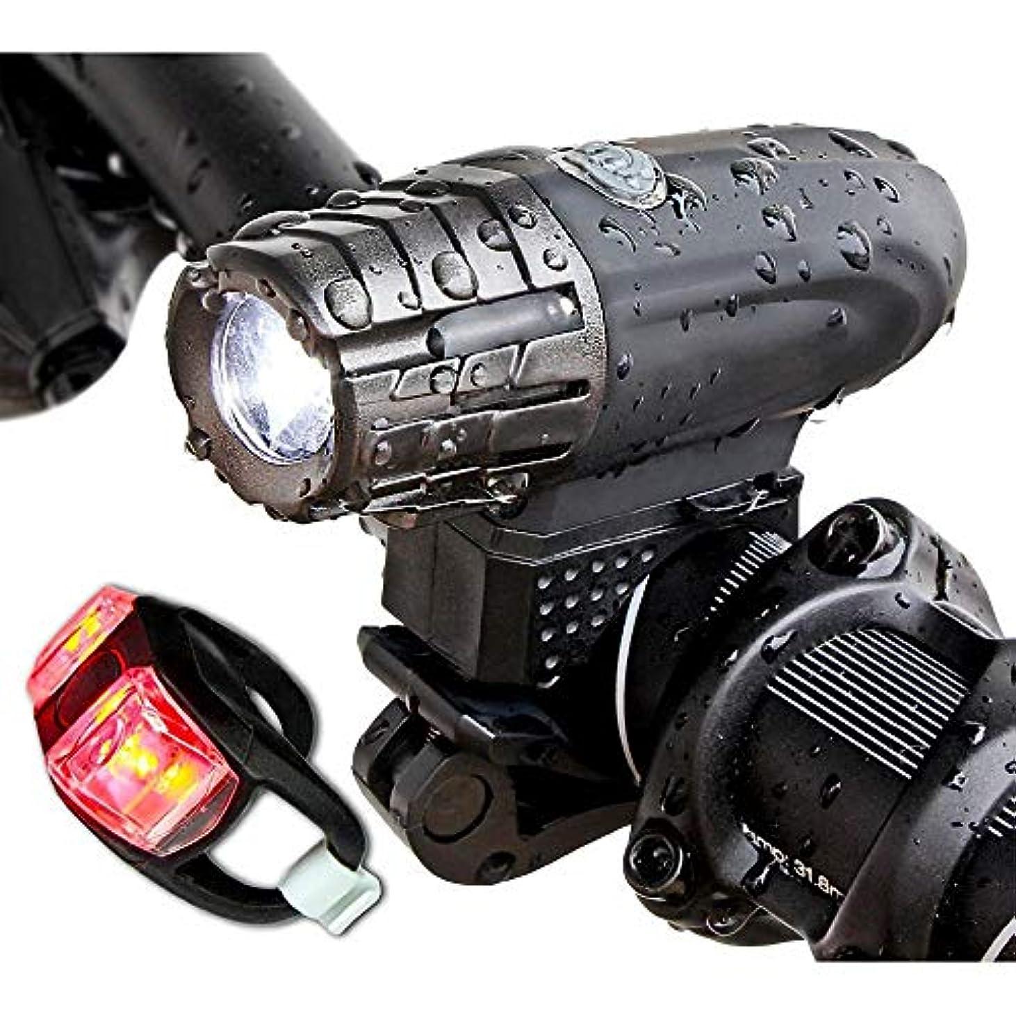 村情熱的フルーツ野菜KTH USB充電式自転車ライトセット、防水LEDフロント&バックリアライト、スーパーパワフルルーメン自転車ヘッドライト、キッズ男性女性用