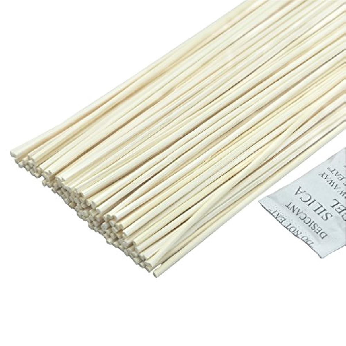 カプラー安心させる意志に反する100本入ナチュラルカラー 籐のリードアロマディフューザーの交換用スティック (16cmx3mm)