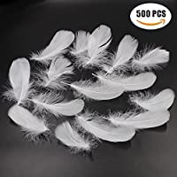 Md trade 500 Pcs Nature Goose Feather DIY Craft Wedding Home Party DecorationsWhite [並行輸入品]