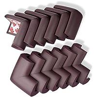 子ども年配者を安全に保護,子供用コーナーガード(12個入り),厚みのある,両面テープが予め貼ってあります (ブラウン, 12個)