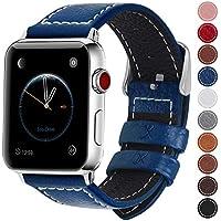 Fullmosa コンパチ Apple Watch バンド ベルト アップルウォッチバンド38mm 42mm Fullmosa apple ウォッチ4(44mm)3 2 1バンド 本革レザー 交換バンド ダークブルー 42mm