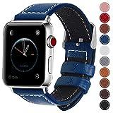 Fullmosa コンパチ Apple Watch バンド ベルト アップルウォッチバンド38mm 42mm Fullmosa apple watch series1 2 3 バンド 本革レザー 交換バンド ラグ付き ダークブルー 42mm