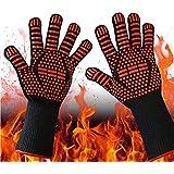 耐熱グローブ 耐熱 手袋 バーベキューグローブ クッキンググローブ 耐熱800℃ 手袋 滑り止め 左右兼用 男女兼用 着脱簡単 洗濯可能 バーベキュー・クッキング用品 オーブン に最適-2枚セット