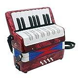 ammoon 初心者/子供用 アコーディオン 手風琴 8ベース 17鍵 小さい 知育玩具 楽器 キッズアコーディオン (レッド)