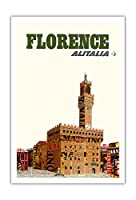 フィレンツェ、イタリア - アリタリア航空 - ヴェッキオ宮殿 - ビンテージな航空会社のポスター c.1966 - アートポスター - 76cm x 112cm