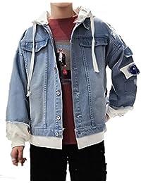 [Nana_Collection(ナナコレクション)] 春 レイヤード 重ね着風 フード付 Gジャン デニム ジャケット 男性