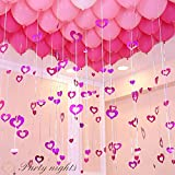バルーン アクセサリー キラキラ ハート 50枚入り 飾り付け 選べる5種類 約7×7cm 装飾 パーティ イベント 結婚式 風船 紐 ガーランド インスタ映え ピンク