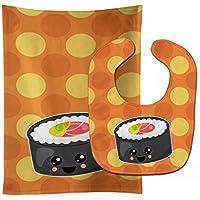 Caroline 's Treasures Sushi Roll with Faceベビーよだれかけ&バープクロスセット、マルチカラー、Large