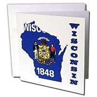 777imagesフラグとマップ–States–ウィスコンシン州旗in theアウトラインマップと文字のウィスコンシン–グリーティングカード Set of 12 Greeting Cards