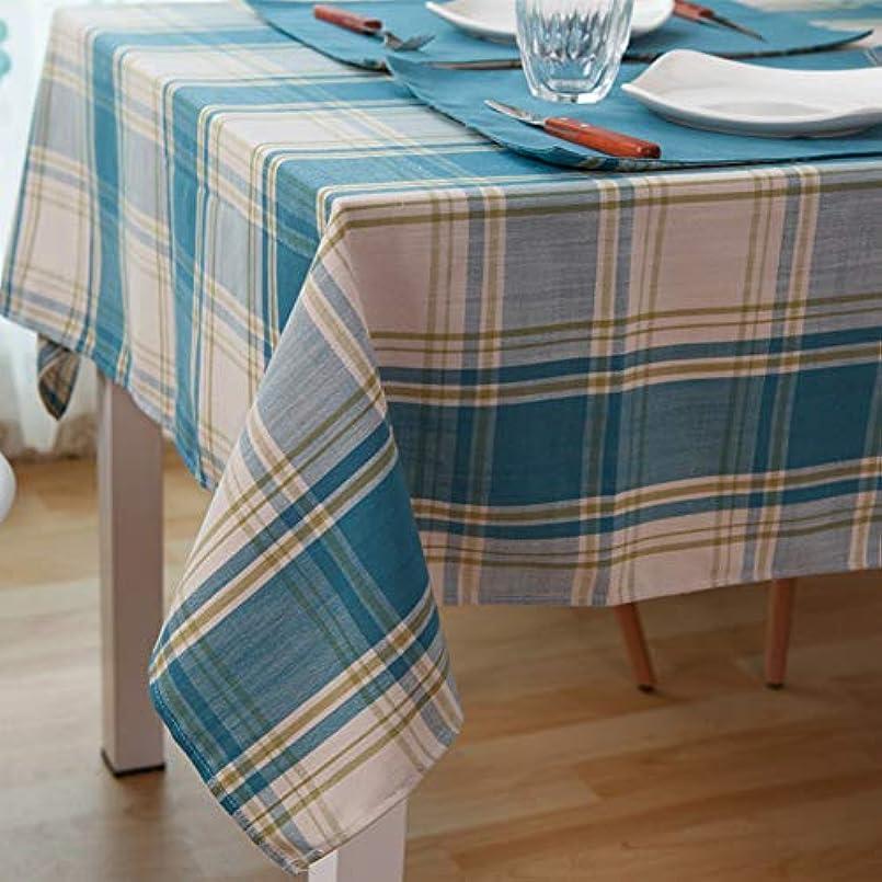 マーガレットミッチェル空白荒れ地チェッカー長方形テーブルクロス,耐汚染性 屋外屋内のための防水ギンガムテーブルクロス コットン リネンのテーブル カバー-ブルー 120x170cm