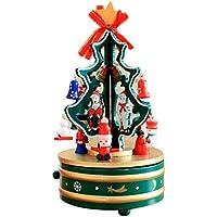 Konfaクリスマスクリエイティブ回転音楽ボックスツリークリスマスギフト部屋装飾 レッド