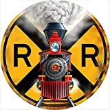 12x12 Inches Circular Metal Sign,Train Signage Railroad Crossing,Vintage Round Tin Sign Nostalgic Funny Iron Painting