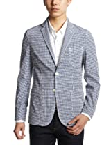 Seersucker Gingham Jacket 3122-139-0258: Navy