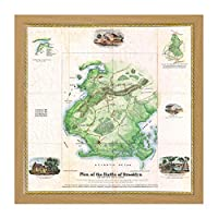 Map War American Independence Battle Brooklyn Replica Square Wooden Framed Wall Art Print Picture 16X16 Inch 地図戦争アメリカ人戦い木材壁画像