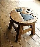 猫の木製ミニスツール かわいい 小さい椅子 観葉植物 花台 ミニテーブル 置き台 アジアン雑貨 子供椅子 ネコさん [maz5471]