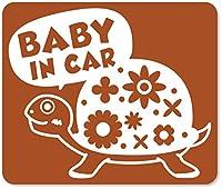 imoninn BABY in car ステッカー 【マグネットタイプ】 No.53 カメさん (茶色)