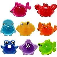お風呂用おもちゃ 水遊び 赤ちゃん 浴室おもちゃ 積み重ねたカップ大人気のおもちゃ シャワー ABS樹脂 海洋動物 パズル 初期の教育 8個セット