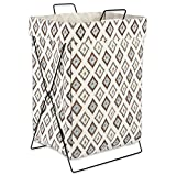 "DII X Frame Collapsible Heavy Duty Fabric Laundry Bin Perfect In Your Bedroom, Nursey, Dorm, Closet, Laundry Room, 15"" - Neutral Ikat Diamond"